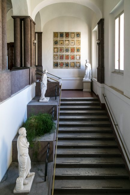 The the central staircase.