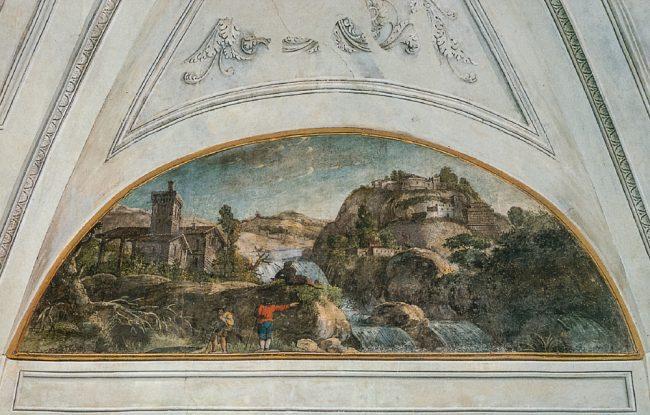 Salone delle feste: lunetta con la cascata (Ravenna segreta – Angelo Longo Editore, Ravenna)