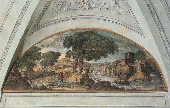 Salone delle feste: lunetta con il cacciatore (Ravenna segreta – Angelo Longo Editore, Ravenna)