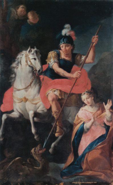 Andrea Barbiani - San Giorgio e la principessa - Olio su tela 210x132 (I Barbiani - Longo Editore, Ravenna)
