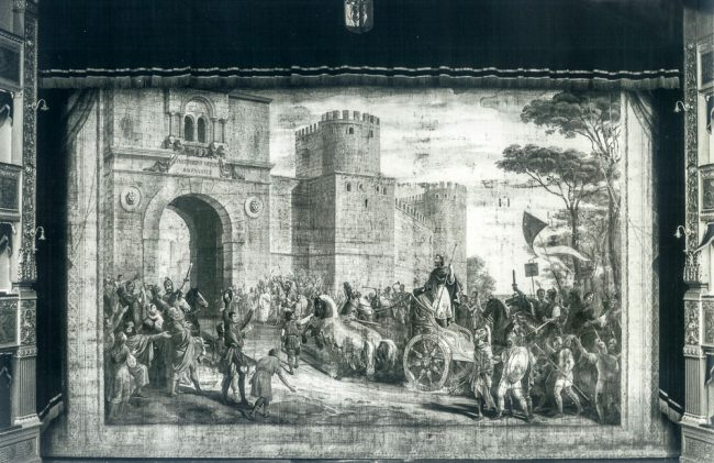 The curtain, now lost, depicting the entrance of Theodoric in Ravenna, painted by Giovanni Busato  - © Giovanni Sassi