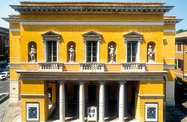 The facade of the theater: detail - Photo Archive of the City of Ravenna