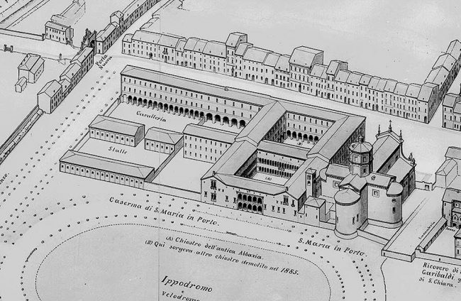 Il complesso del Monastero di Porto disgnato da Gaetano Savini nel 1903. Sono visibili il primo chiostro e tutta l'ala dell'edificio su Via di Roma oggi demolita.