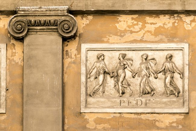 Pilaster with Ionic corbels and dancing female figures - Detail