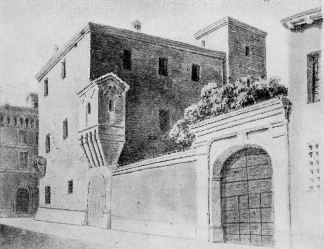 Palazzo Rasponi prima del 1876 – Disegno di Luigi Ricci