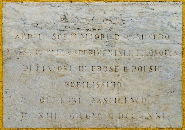 Lapide commemorativa della nascita di Paolo Costa
