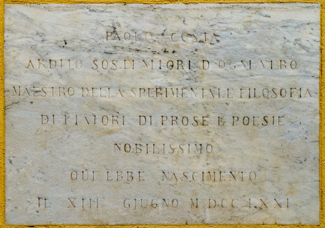 Memorial tablet of the birth of Paolo Costa
