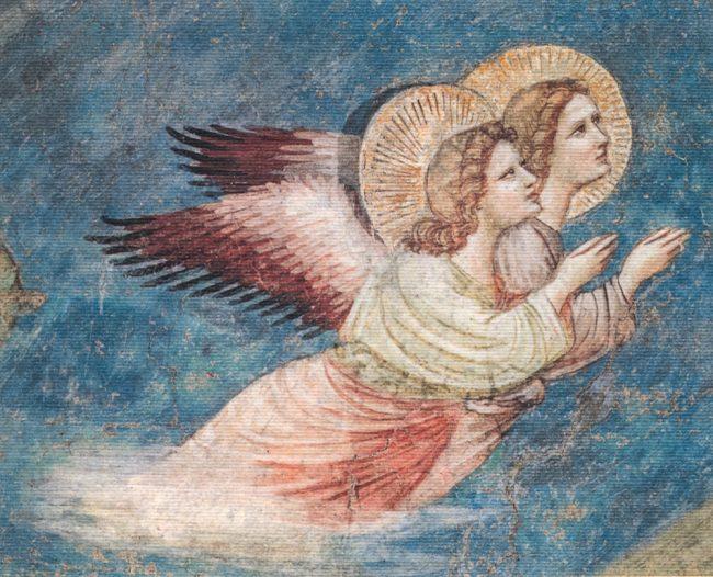 La Natività, particolare degli Angeli, oggi nelle sale del Museo Nazionale di Ravenna – Gli affreschi trecenteschi da Santa Chiara in Ravenna – Angelo Longo Editore