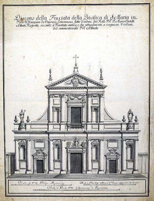 Disegno di Camillo Morigia della facciata di Santa Maria in Porto – Archivi fotografici Istituzione Biblioteca Classense, Ravenna
