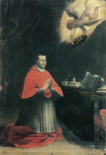 Giovanni Battista Barbiani. San Carlo Borromeo in preghiera - Olio su tela 250x170 - (I Barbiani – Angelo Longo Editore) – Navata sinistra