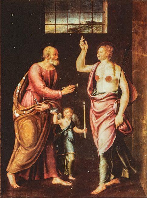Sant'Agnese visitata in carcere da San Pietro – Olio su tela 165 x 123 (Luca Longhi, 1507-80) – I Longhi – Angelo Longo Editore (navata destra)