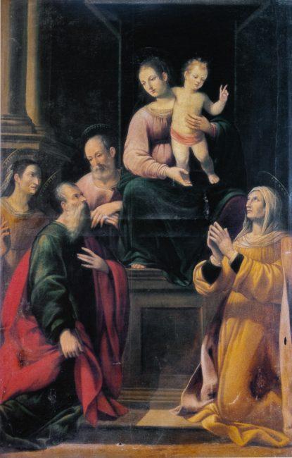 La Vergine con Bambino e Santi – Olio su tela 215 x 170 (Giovanni Battista Barbiani, 1593-1650) – I Barbiani  – Angelo Longo Editore – Navata sinistra