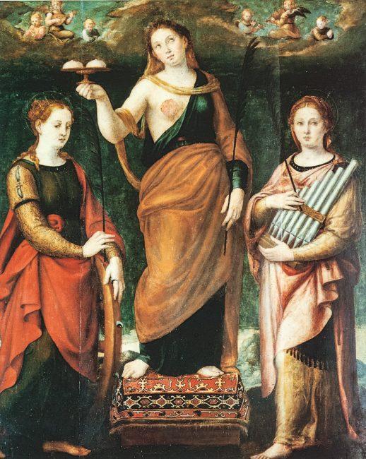 Sant'Agata fra le Sante Caterina d'Alessandria e Cecilia, 1546 (Luca Longhi, 1507-80) – Olio su tela 175x150 – I Longhi – Angelo Longo Editore (al termine della navata destra)