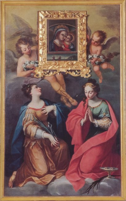 Santa Lucia e Santa Apollonia (Andrea Barbiani, 1708-79) – Olio su tela 250x153 – I Barbiani – Angelo Longo Editore (al termine della navata sinistra)