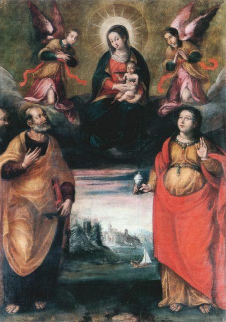 La Madonna in trono col Bambino fra i Santi Pietro e Maria Maddalena (Giovanni Battista Barbiani, 1593-1650) – Olio su tela 215x140 – I Barbiani – Angelo Longo Editore (navata sinistra)