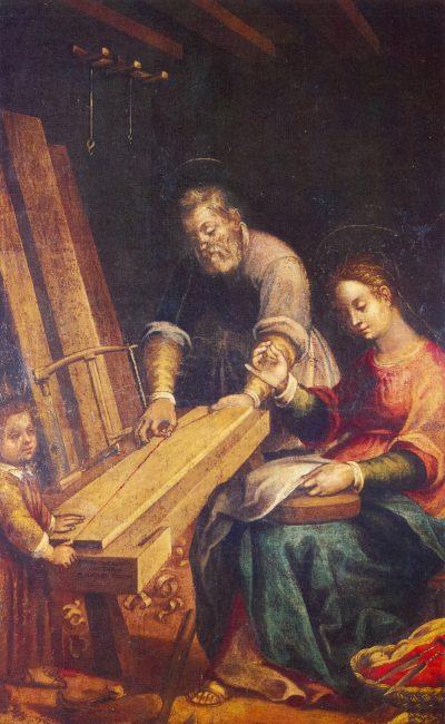 La bottega di San Giuseppe - Olio su tela 205x134 (Giovanni Barbiani, 1566-1641) – I Barbiani – Angelo Longo Editore (navata sinistra)
