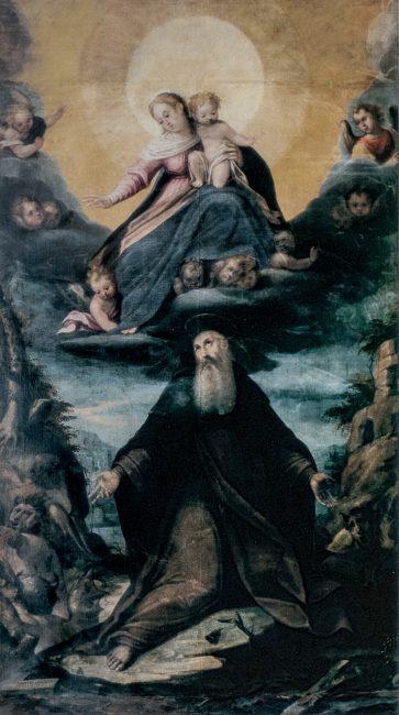 La Vergine con il Bambino e Sant'Antonio Abate (Giovanni Barbiani, 1556-1641) - Olio su tela 300x180 – I Barbiani – Angelo Longo Editore – Navata destra