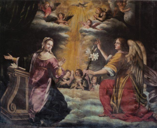 L'Annunciazione (Giovanni Battista Barbiani, 1593-1650) – Olio su tela 200x252 – I Barbiani – Angelo Longo Editore – Navata sinistra