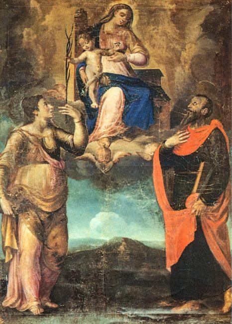 Madonna, il Putto, Santa Giustina e San Paolo (Francesco Longhi, 1544-1618) – Olio su tela 200x150 – I Longhi– Angelo Longo Editore