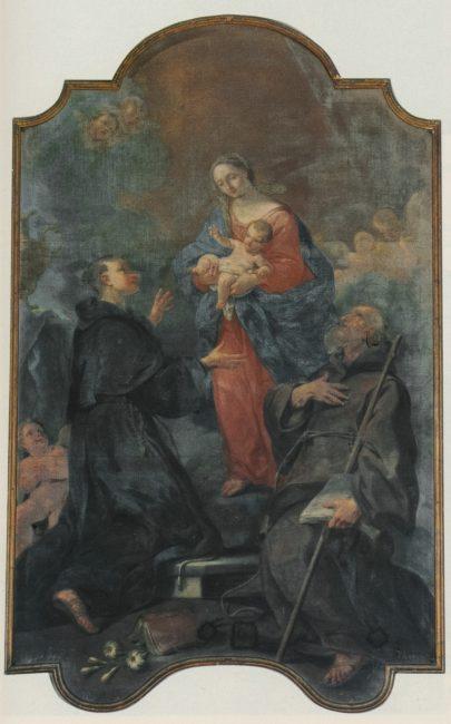 La Vergine con il Bambino e Santi (Andrea Barbiani, 1708-79) - Olio su tela 240x155 – I Barbiani – Angelo Longo Editore (parete sinistra)