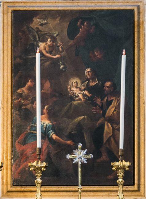 Natività di Maria (Andrea Barbiani, 1708-79) Olio su tela 266x195 - Particolare