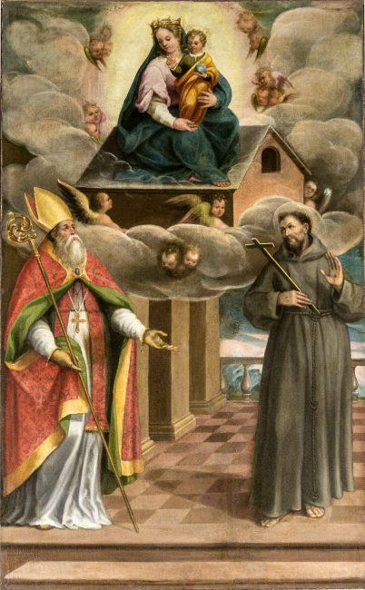Giovanni Barbiani - La Madonna di Loreto e i Santi Apollinare e Francesco - Olio su tela 220x132