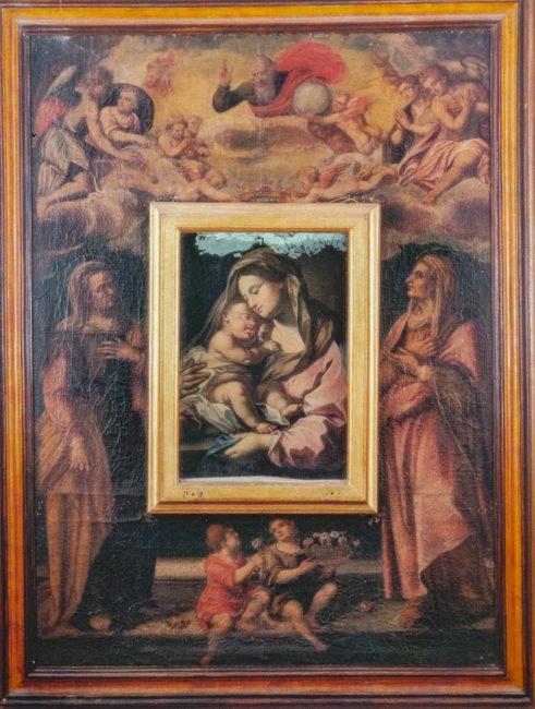Giovanni Barbiani (1566-1641) - Incoronazione dell'immagine della Vergine con il Bambino, Dio Padre e le Sante Anna e Elisabetta - Olio su tela 220x163 – I Barbiani – Angelo Longo Editore