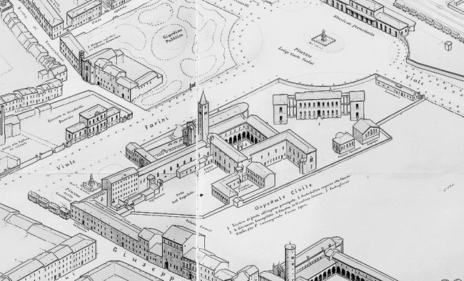The monastery adjacent to St. John the Evangelist Church, used as a civil hospital, represented by Gaetano Savini, in 1900, in Ravenna panoramic map view from the south.