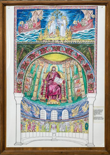 The apse mosaic demolished by Abbot Teseo Aldrovandi in 1576. Design performed by Franco Franchini in 2009 according to written documents.