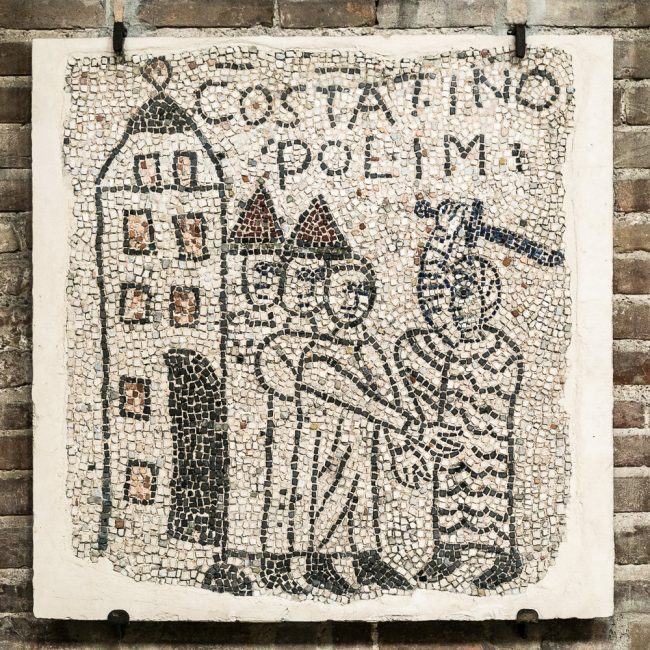 Fragment medieval mosaic pavement (XIII sec.): Scene of the Fourth Crusade