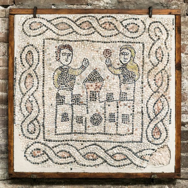 Fragment medieval mosaic pavement (XIII sec.): farewell scene to his wife by the Knight