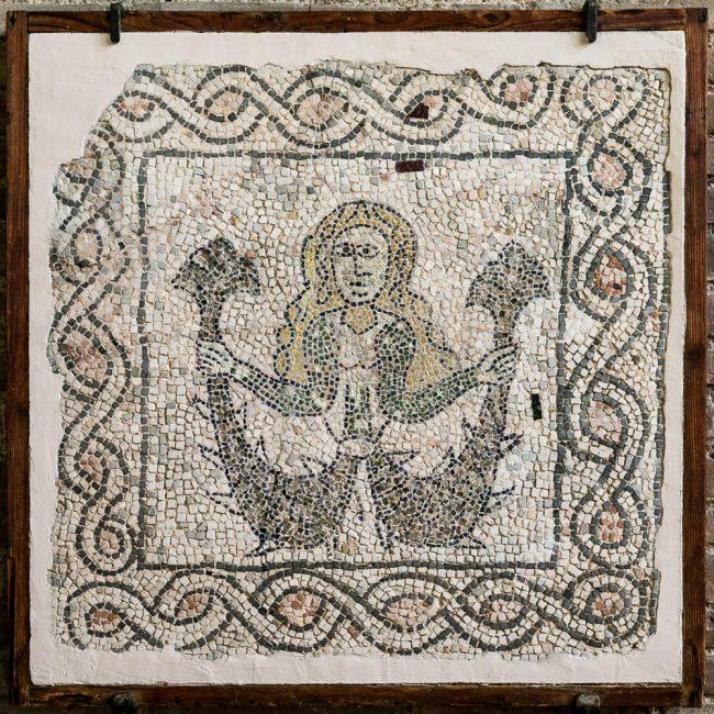 Fragment medieval mosaic pavement (XIII sec.): a fantastic figure