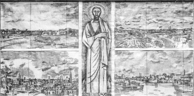 Mosaic in the salon before renovations – Archivi fotografici Istituzione Biblioteca Classense, Ravenna.