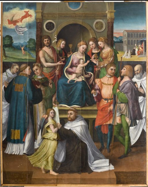 Luca Longhi (1507-1580) – Madonna con Bambino, Santi e committente – Olio su tavola 128x101 - © Giampiero Corelli Fotoreporter