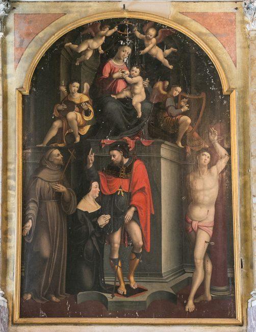 Cappella Dal Corno - Madonna col Bambino fra i santi Sebastiano, Rocco, Francesca e Camilla Dal Corno (Gaspare Sacchi, XVI sec.)