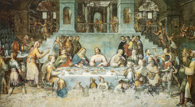 Luca Longhi. the wedding at Cana  - Oil on wall 450x800 – I Longhi – Angelo Longo Editore