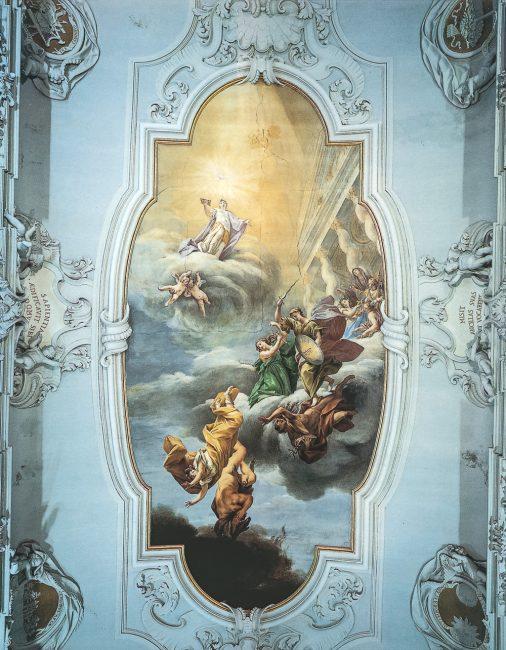 Aula magna - La volta affrescata da Francesco Mancini con Il trionfo della Divina Sapienza – Ravenna Segreta – Angelo Longo Editore