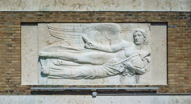 Bas-relief by Umberto Pinzauti - The Glory - La nuova Casa del Mutilato - Edizioni del Girasole