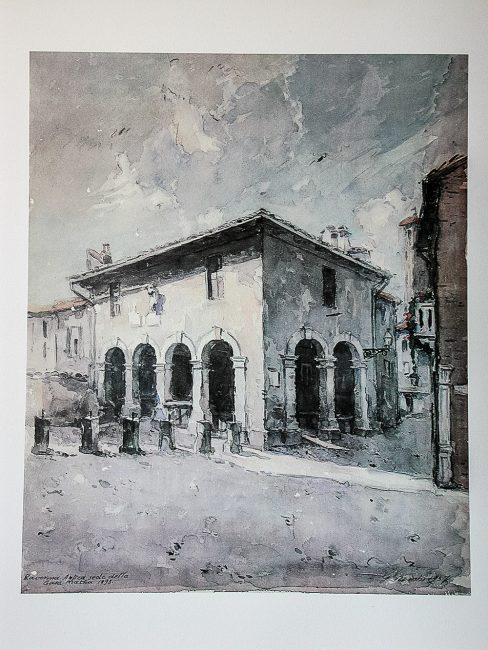 La Casa Matha e le pescherie cittadine fatte costruire nel 1715 dal Cardinale Gozzardini – Acquerello di Gambi – Per gentile concessione della Casa Matha